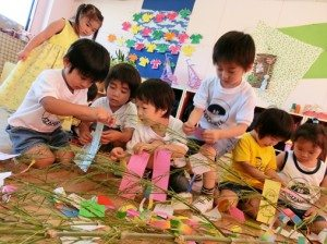 七夕のかざりつけ(3歳)